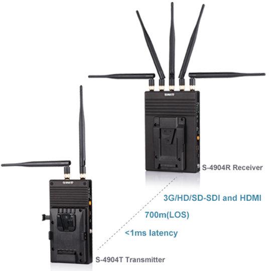 S-4904T/R (V-Mount) SDI/HDMI 2200ft Wireless System