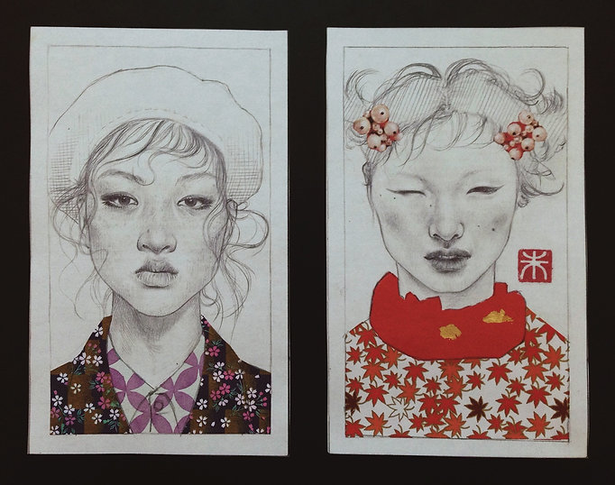 Yuqing Zhu's sketchbook and journal.  Two pencil / graphite portraits of east asian models.