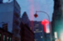 Yuqing Zhu film photography.  Manhattan Chinatown at dusk.