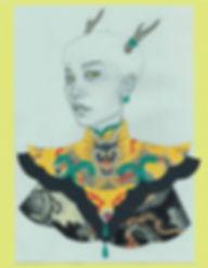 Art by Yuqing Zhu.  A self-portrait as Chinese dragon king.