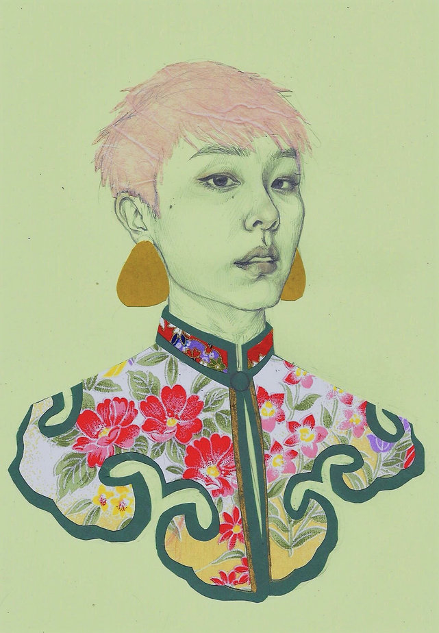 Art by Yuqing Zhu.  A self-portrait in Chinese dynastic robes.