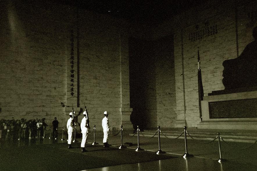 Yuqing Zhu film photography. Changing of the guard at Chiang Kai Shek Memorial Hall in Taipei.