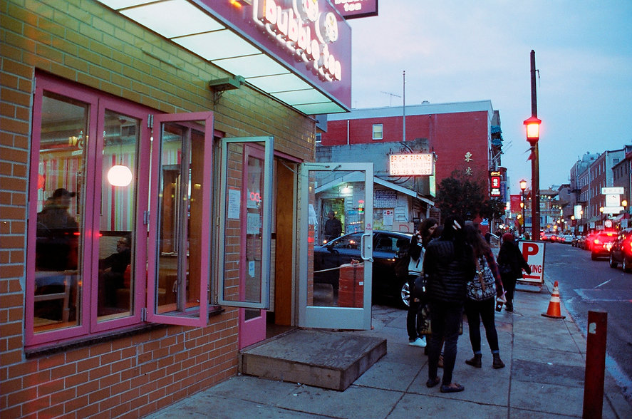 Yuqing Zhu film photography. Philadelphia Chinatown at dusk.