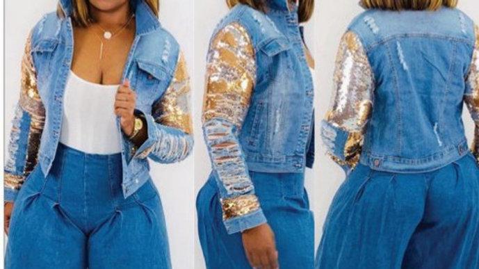Denim Gold Sequin Jacket