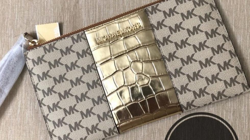 Michael Kors Jet Set Gold Stripe Clutch Wristlet - XL