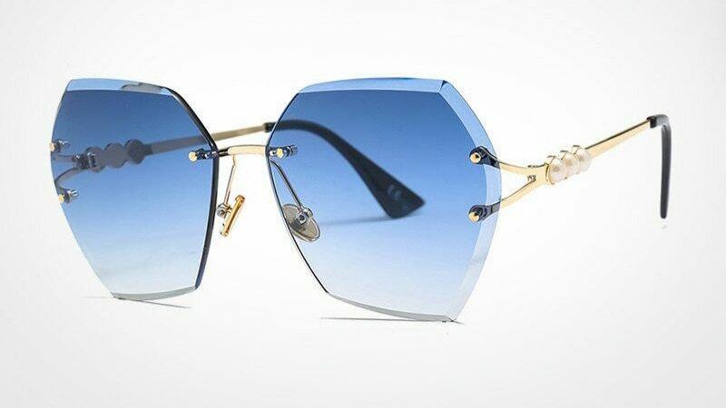 Rimless Pearl Sunglasses  - Blue