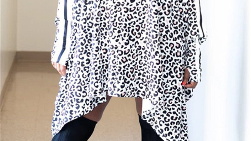 Jersey Girl Leopard Bat Sleeve Dress