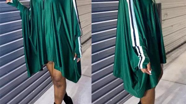 Jersey Girl Bat Sleeve Dress-Green