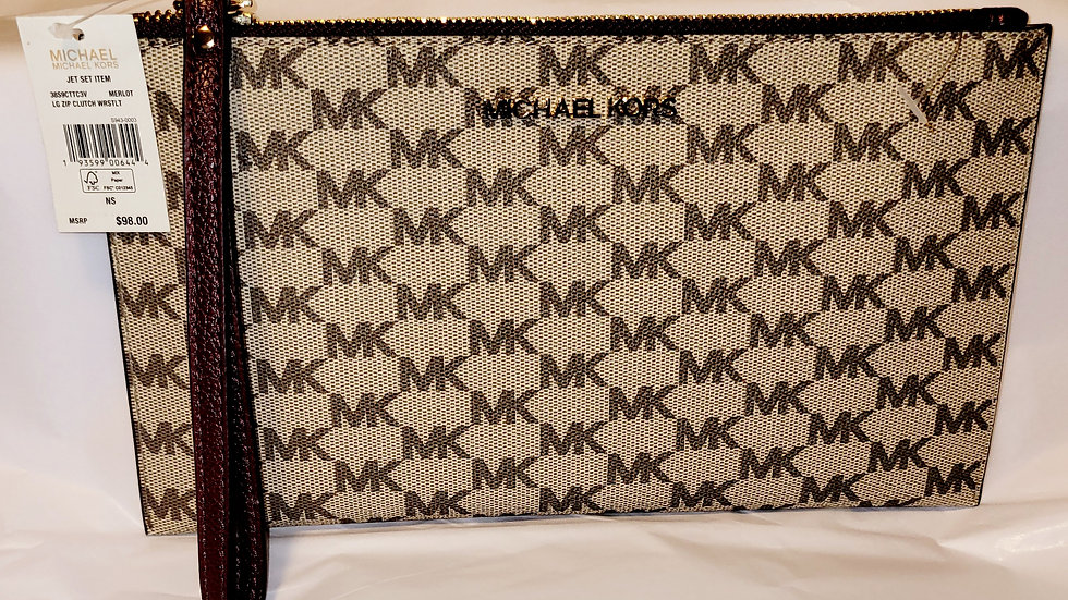 Michael Kors Large Zip Clutch Wristlet - Merlot Trim
