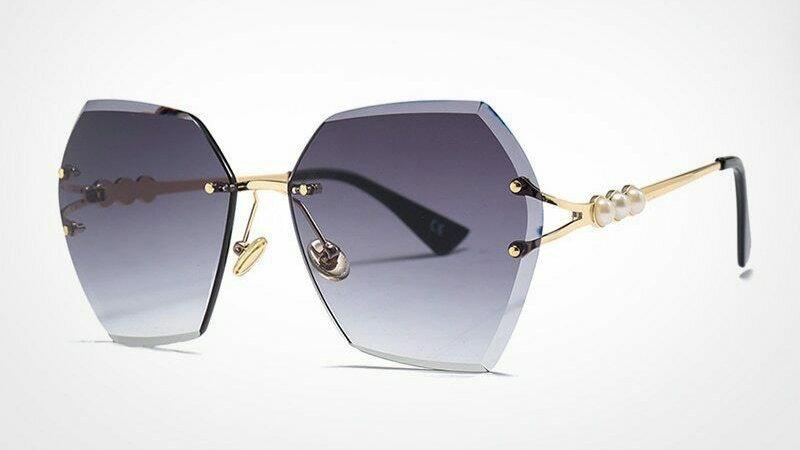 Rimless Pearl Sunglasses  - Blk