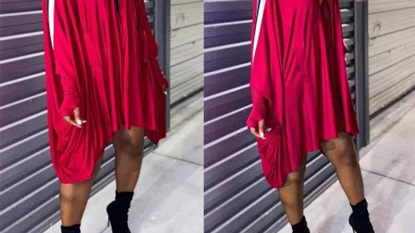 Jersey Girl Bat Sleeve Dress- Red