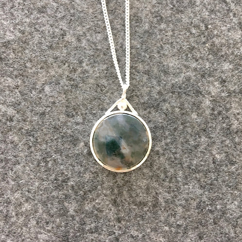 Moss Agate Pendant with Open Back 2