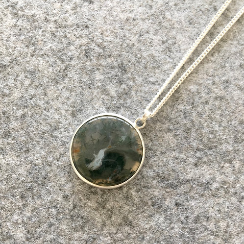 Moss Agate Pendant with Open Back