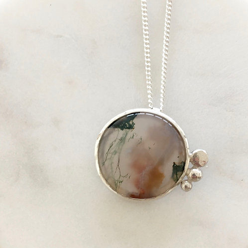 Moss Agate Pendant with Open Back 3