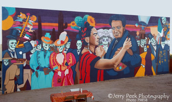 "Mural by Rock ""Cyfi"" Martinez (after Mexico City mural) near Mercado San Agustin"