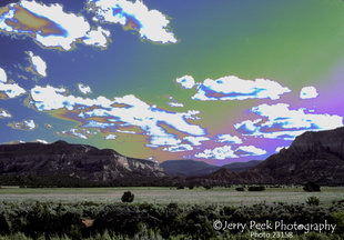 Meadow, mesas, clouds, near Abiquiu, NM (edited color)