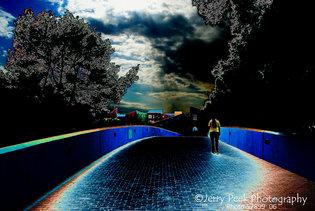 Garces Footbridge, La Placita in background (edited color)