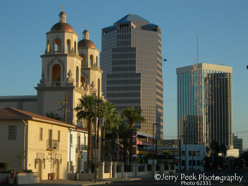St. Augustine Cathedral and downtown near sunrise