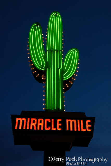 South side of Miracle Mile/Tucson neon sign, near 1500 N. Oracle Rd.