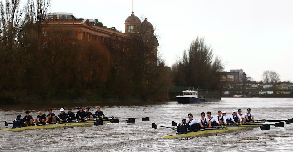 OUBC trial eights: Flea (white tops):Benedict Aldous - 6, Charlie Thurston - 2  Reggie (dark tops):Charlie Pearson - 7