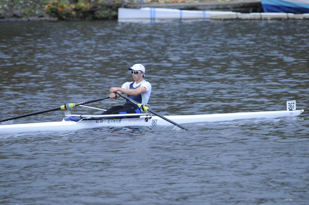 The second fastest sculler at Eton, Etn-Watson-Gandy racing hard to win the J18 1x
