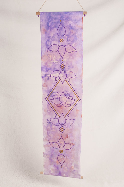 Lotus moonphase watercolor banner
