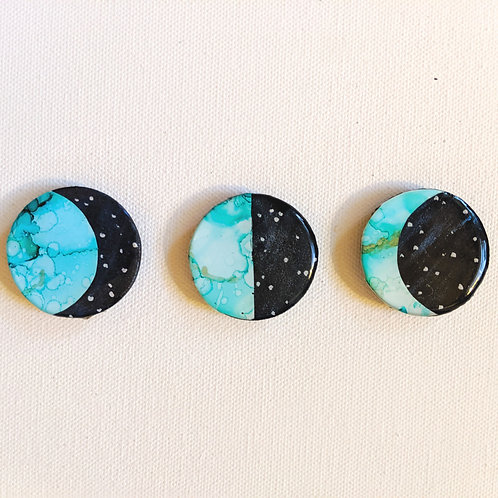 Moonphase magnets, set of 3