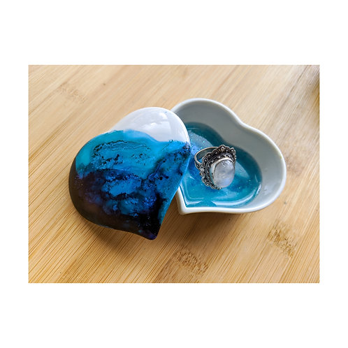 Resin and Ink Porcelain Ring Dish