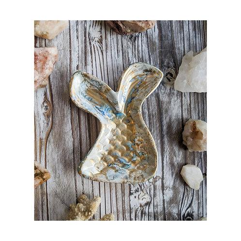 Beachy Painted Ceramic Mermaid Ring Dish