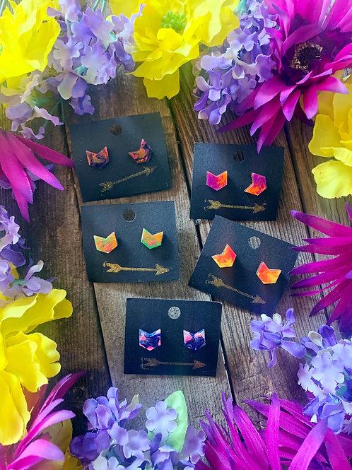 Handmade Chevron Geometric Stud Earrings