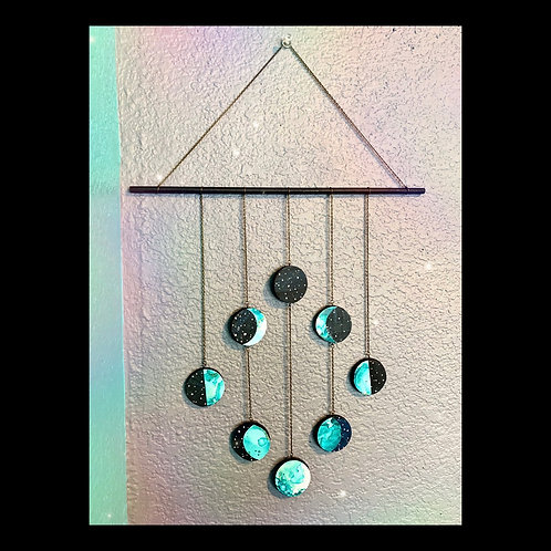 Magical Wooden Moon Phase Mobile in Aqua