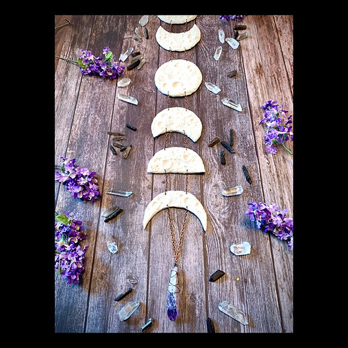 Long Moon Phase Sculpture Wall Hanging