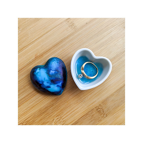 Ink and Resin Porcelain Ring Dish