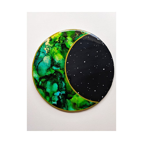 Green & Gold Resin Crescent Moon