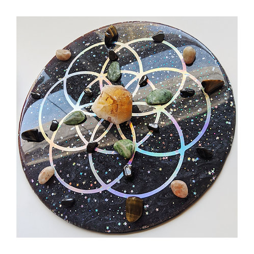Holographic Seed of Life Resin Crystal Grid