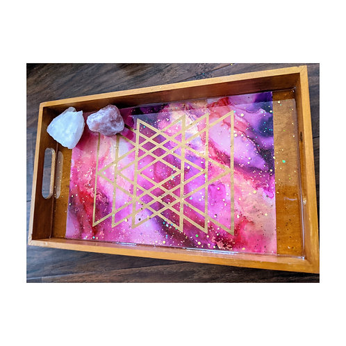 Sacred Geometry Sunset Alcohol Ink and Resin Wood Tray