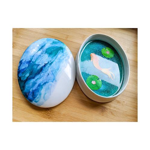 Porcelain Ink and Resin Koi Zen Pond