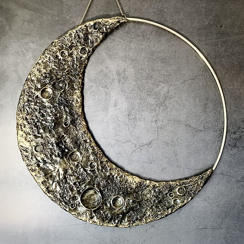 """Gold Cresent Moon Wall Hanging 14"""""""