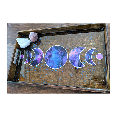 Large Moon Phase Ink and Resin Wood Tray