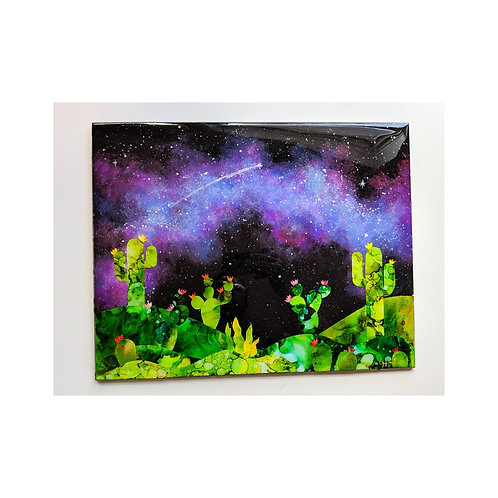 """Galacti Cacti I"" Large Resin collage"