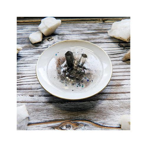 Smoky Quartz Crystal and Resin Ring Dish