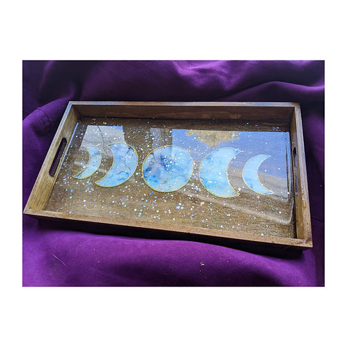 Moon Phase Ink and Resin Wood Tray