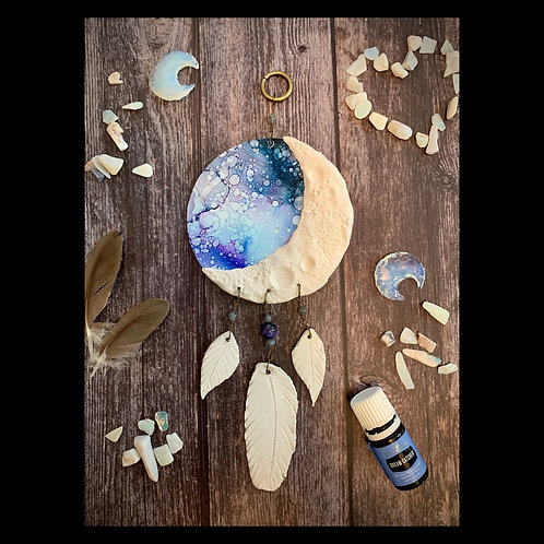 Moon Phase Dreamcatcher Clay and Ink Wall Hanging