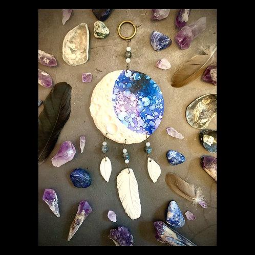 Mini Mooncatcher Clay and Ink Sculpture with Gemstones
