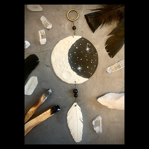 Moon Phase Dreamcatcher Clay Sculpture with Obsidian