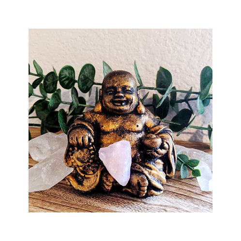 Antique Gold Painted Resin Budai Statue