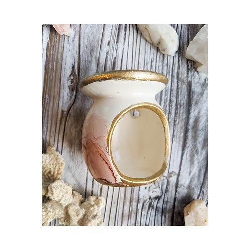 Desert Rose and Gold Painted Ceramic Oil/Wax Burner