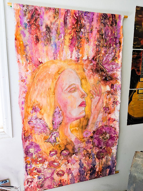 "3'x5' ""Wild Woman"" Watercolor canvas banner"
