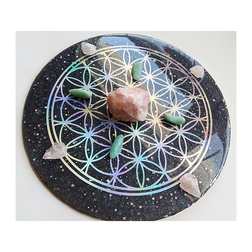 Holographic Flower of Life Resin Crystal Grid