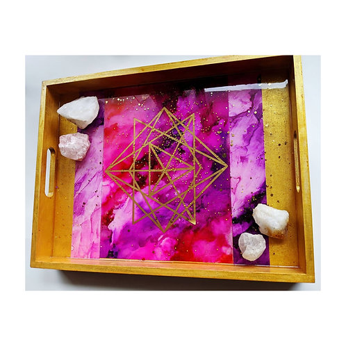 Large Sacred Geometry Sunset Resin and Wood Tray